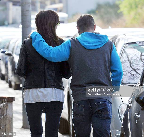 Barcelona football player Andres Iniesta and his wife Anna Ortiz are seen on March 09 2015 in Barcelona Spain