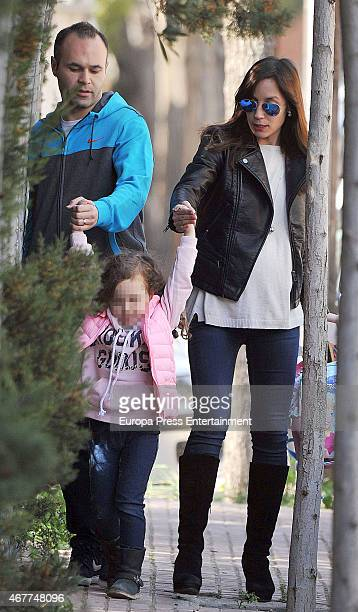 Barcelona football player Andres Iniesta his wife Anna Ortiz and their daughter Valeria Ortiz are seen on March 09 2015 in Barcelona Spain