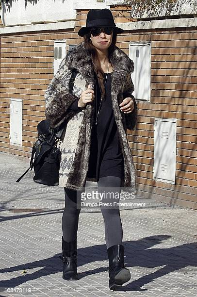 Barcelona football player Andres Iniesta's wife Ana Ortiz is sighted on January 28 2011 in Barcelona Spain