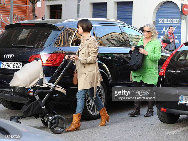 Barcelona football player Andres Iniesta's wife Ana Ortiz is sighted on April 28 2011 in Barcelona Spain