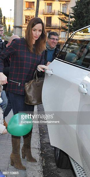 Barcelona football player Andres Iniesta's wife Anna Ortiz is seen on December 20 2013 in Barcelona Spain