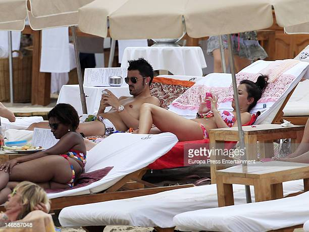 Barcelona football player David Villa and his wife Patricia Gonzalez are seen on the beach on June 9 2012 in Ibiza Spain