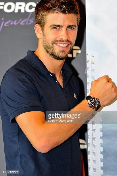 Barcelona football player Gerard Pique attends a press conference for Time Force at the Hotel Diagonal Zero on September 23 2010 in Barcelona Spain