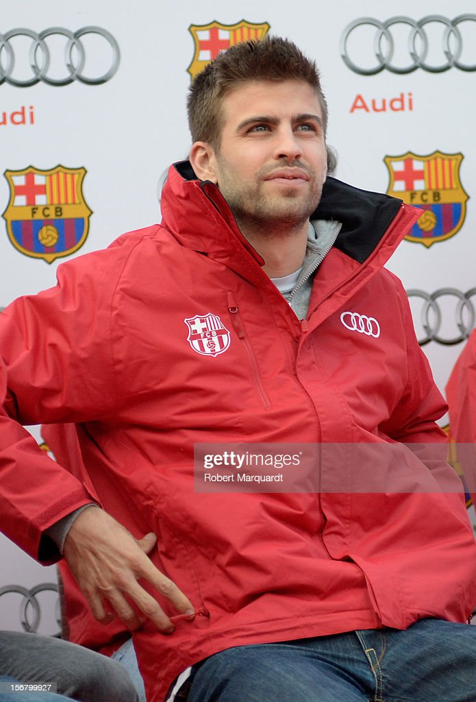 Barcelona football player Gerard Pique attends an Audi presentation during which Barcelona FC players received new Audi cars for the 2012-2013 season at Camp Nou on November 21, 2012 in Barcelona, Spain.