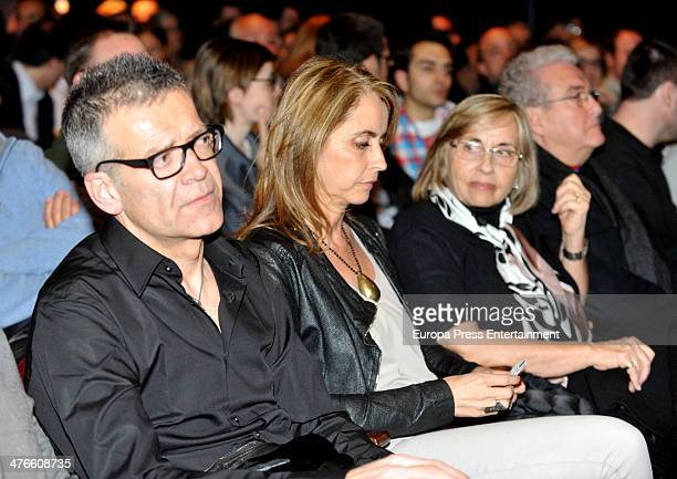 Barcelona football player Gerard Pique's father Joan Pique and mother Montserrat Bernabeu attend the conference 'Football players and Journalists' at...