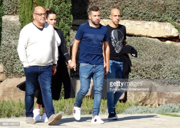 Barcelona football player Jordi Alba and Romarey Ventura attend Susana Prat's funeral on October 27 2017 in Sitges Spain Susana Prat who is the...