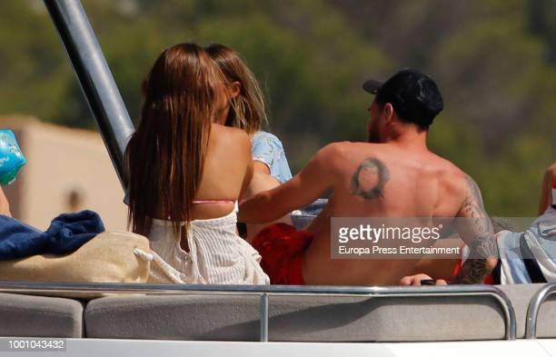 Barcelona football player Lionel Messi and his wife Antonella Roccuzzo are seen on July 17 2018 in Ibiza Spain