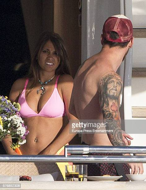 Barcelona football player Lionel Messi and his wife Antonella Rocuzzo are seen on July 16 2016 in Ibiza Spain