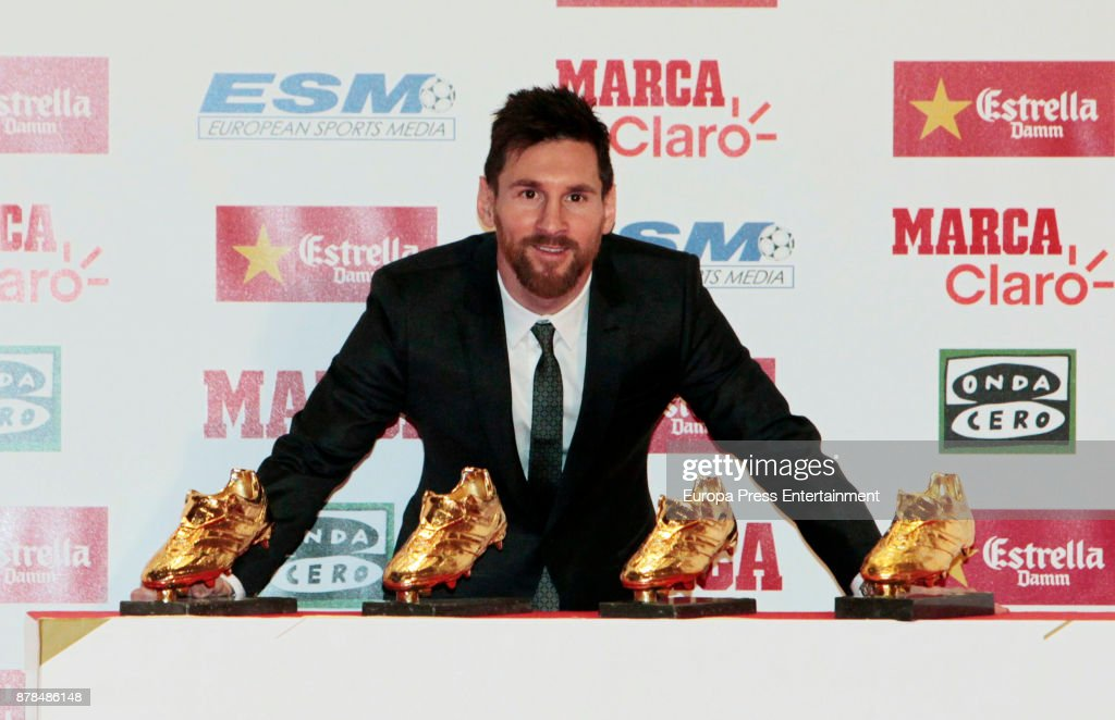 Barcelona Football Player Lionel Messi Receives The Golden Boot Award At The Old Estrella Damn Factory