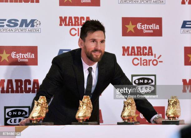 Barcelona football player Lionel Messi receives the Golden Boot award at the Old Estrella Damn Factory on November 24 2017 in Barcelona Spain