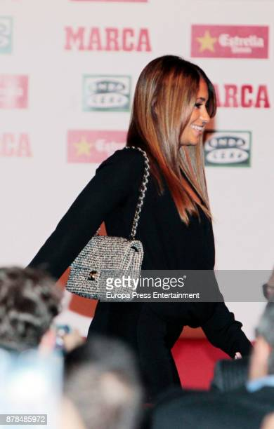 Barcelona football player Lionel Messi's wife Antonella Roccuzzo attends the giving ceremony of the Golden Boot award to Lionel Messi at the Old...