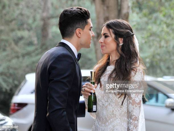 Barcelona football player Marc Bartra and the journalist Melissa Jimenez attend their wedding on June 18 2017 in Barcelona Spain