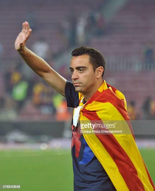 Barcelona football player Xavi Hernandez celebrates UEFA Champions League Final on June 7 2015 in Barcelona Spain