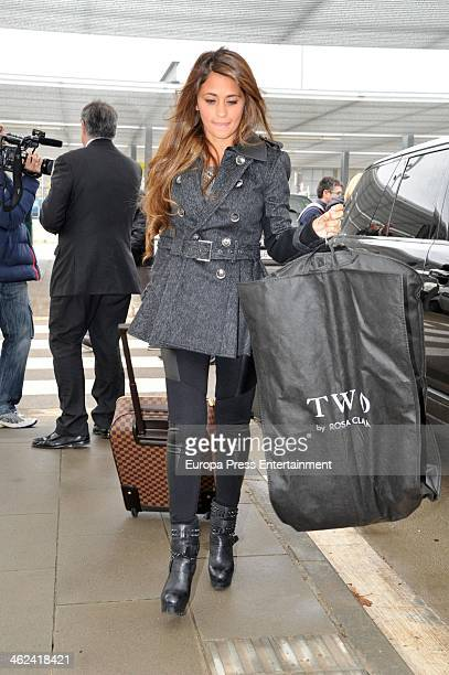 Barcelona football players Leo Messi's girlfriend Antonella Rocuzzo is seen at airport to travel to Zurich to attend Golden Ball Gala on January 13...