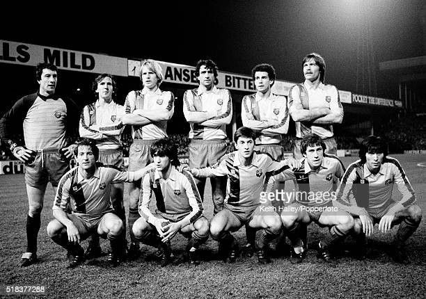 Barcelona football team line up prior to the UEFA Super Cup Final 2nd leg against Aston Villa at Villa Park in Birmingham on the 26th January 1983...