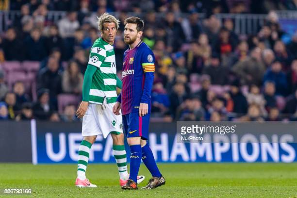 FC Barcelona forward Lionel Messi and Sporting CP defender Fabio Coentrao during the match between FC Barcelona Sporting CP for the group stage round...
