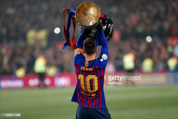 FC Barcelona forward Lionel Messi celebrate the victory at the LaLiga Championship during the match FC Barcelona against Levante UD for the round 35...