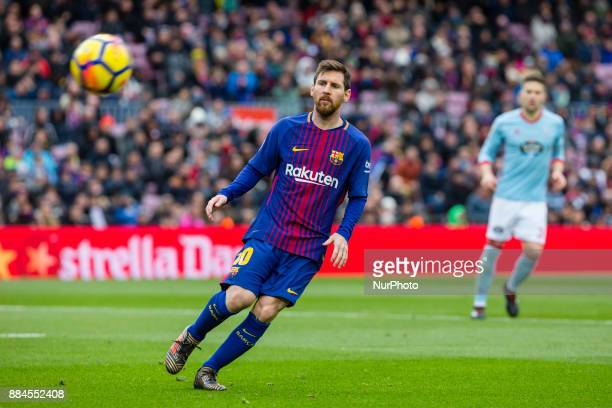 FC Barcelona forward Lionel Messi during the match between FC Barcelona vs Celta de Vigo for the round 14 of the Liga Santander played at Camp Nou...