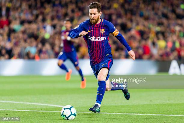 FC Barcelona forward Lionel Messi during the match between FC Barcelona v Real Madrid for the round 36 of the Liga Santander played at Camp nou on...