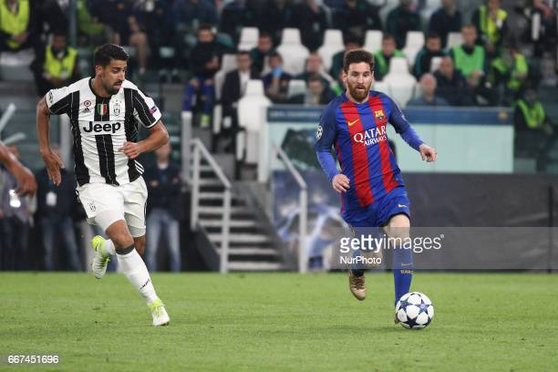 Barcelona forward Lionel Messi in action during the Uefa Champions League quarter finals football match JUVENTUS BARCELONA on at the Juventus Stadium...