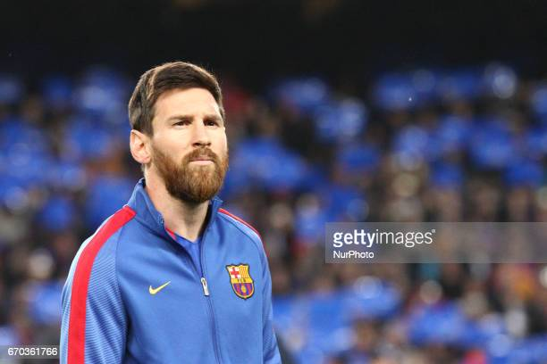 Barcelona forward Lionel Messi poses in order to be photographed before the Uefa Champions League quarter finals football match BARCELONA JUVENTUS on...