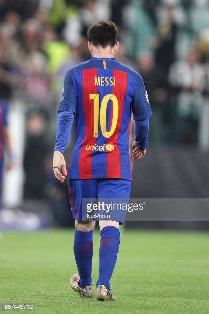 Barcelona forward Lionel Messi shows dejection during the Uefa Champions League quarter finals football match JUVENTUS BARCELONA on at the Juventus...