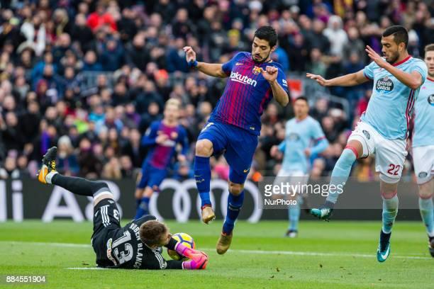 FC Barcelona forward Luis Suarez and Celta de Vigo goalkeeper Ruben Blanco during the match between FC Barcelona vs Celta de Vigo for the round 14 of...