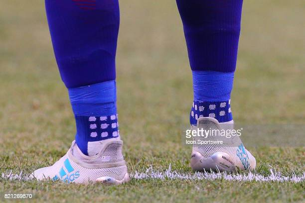 Barcelona forward Luis Suarez cleats during the second half of the International Champions Cup soccer game between Barcelona and Juventus on July 22...