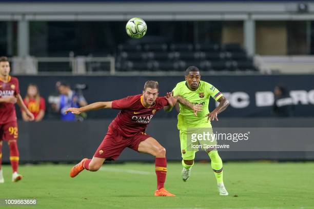 Barcelona forward Malcom Santos and AS Roma defender Davide Santon battle for a loose ball during the International Champions Cup between FC...