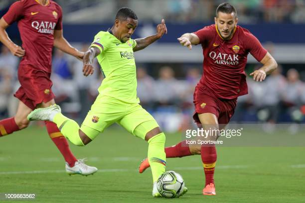 Barcelona forward Malcom Santos takes a shot during the International Champions Cup between FC Barcelona and AS Roma on July 31 2018 at ATT Stadium...