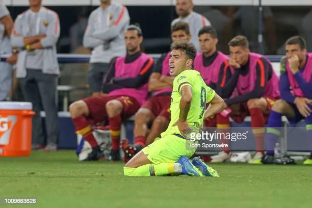 Barcelona forward Munir el Haddadi is fouled during the International Champions Cup between FC Barcelona and AS Roma on July 31 2018 at ATT Stadium...