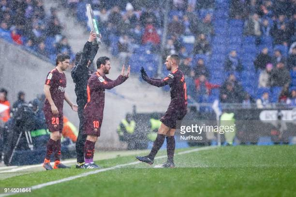 FC Barcelona forward Paco Alcacer changed by Messi during the match between RCD Espanyol vs FC Barcelona for the round 22 of the Liga Santander...