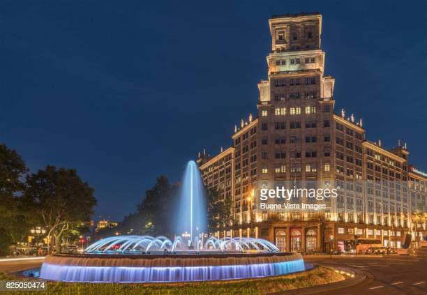 Barcelona. Fountain in Passeig de Gracia at night.