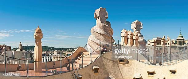 Barcelona Gaudi chimneys Casa Mila La Pedrera Spain