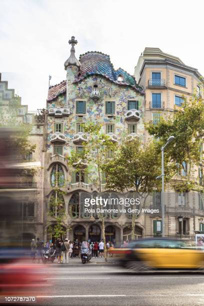 Barcelona Gaudi's Casa Batllo iconic house at lunchtime Spain
