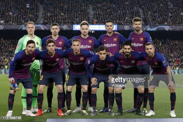 FC Barcelona goalkeeper MarcAndre ter Stegen Clement Lenglet of FC Barcelona Ivan Rakitic of FC Barcelona Sergio Busquets of FC Barcelona Gerard...