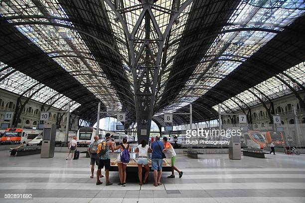 "barcelona, grand interiors of frança railway station (estación de francia or ""france station"") in barcelona, spain - alta velocidad espanola stock pictures, royalty-free photos & images"