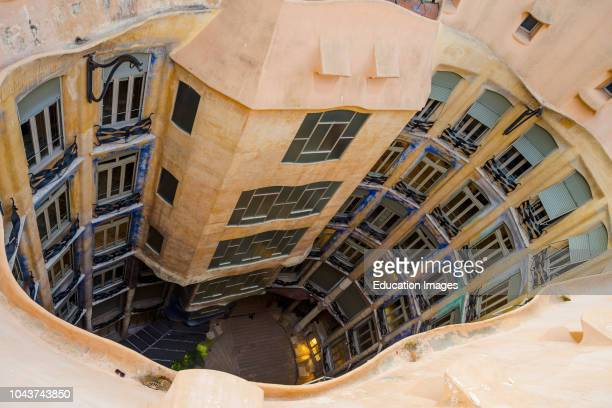 Barcelona Guadis The Pedrera Casa Mila on the roof looking down Catalonia Spain