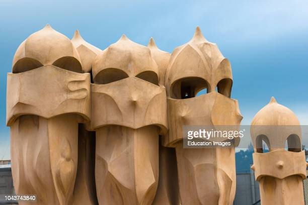 Barcelona Guadis The Pedrera Casa Mila on the roof with its unusual chimneys Catalonia Spain