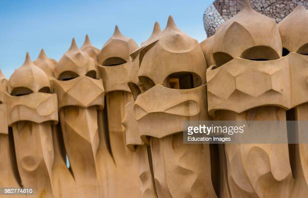 Barcelona Guadi's The Pedrera on the roof with its unusual chimneys Catalonia Spain