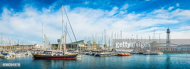 Barcelona harbour marina yachts moored on Mediterranean waterfront panorama Spain
