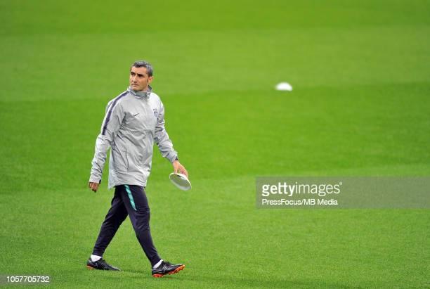 Barcelona head coach Ernesto Valverde during the FC Barcelona training session at San Siro Stadium on November 5 2018 in Milan Italy