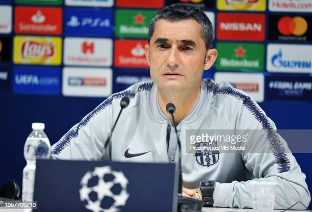 Barcelona head coach Ernesto Valverde during the FC Barcelona press conference at San Siro Stadium on November 5 2018 in Milan Italy