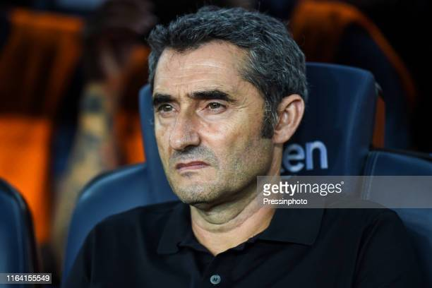 Barcelona head coach Ernesto Valverde during the Liga match between FC Barcelona and Real Betis on August 25, 2019 in Barcelona, Spain.