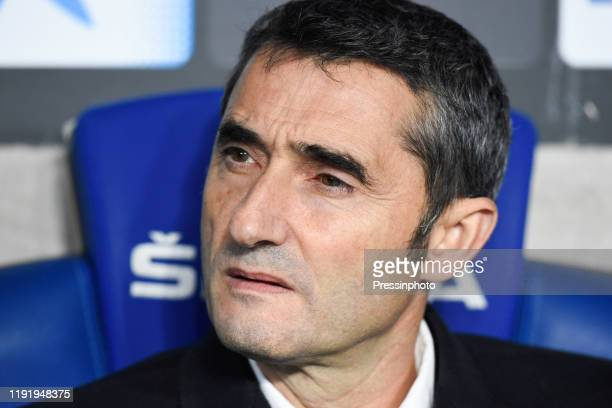 FC Barcelona head coach Ernesto Valverde during the Liga match between Espanyol and Barcelona on January 4 2020 in Barcelona Spain