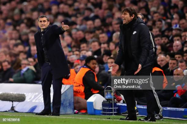 Barcelona head coach Ernesto Valverde gestures from the sideline during the UEFA Champions League Round of 16 First Leg match between Chelsea FC and...