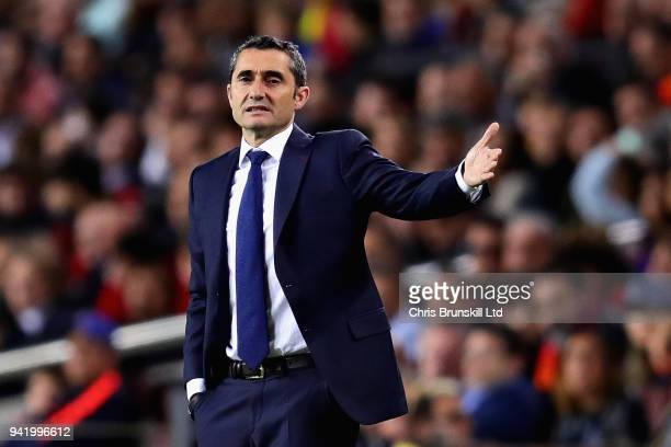 Barcelona head coach Ernesto Valverde gestures from the sideline during the UEFA Champions League Quarter Final first leg match between FC Barcelona...
