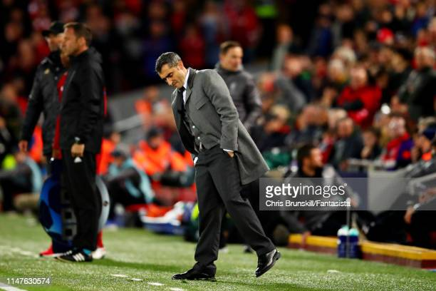 Barcelona head coach Ernesto Valverde looks dejected on the sidelines during the UEFA Champions League Semi Final second leg match between Liverpool...