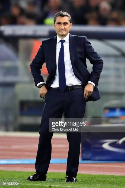 Barcelona head coach Ernesto Valverde looks on from the sideline during the UEFA Champions League Quarter Final second leg match between AS Roma and...