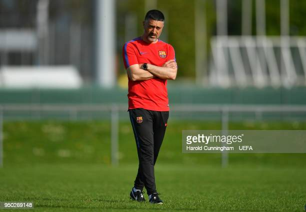 Barcelona head coach Francisco Pimienta during the UEFA Youth League Final Training at Colovray Sports Centre on April 22 2018 in Nyon Switzerland